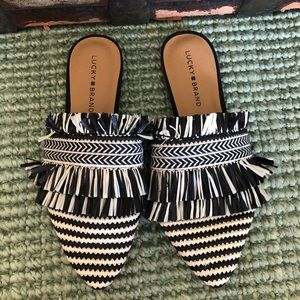 Lucky Brand fringe raffia pointed toe slides